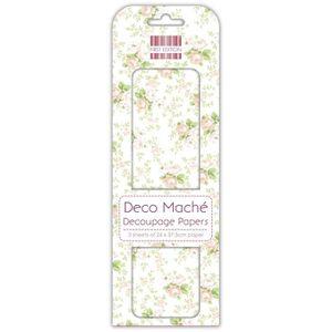 DECO MACHE 3 feuilles de papier découpage Summer Peach Rose