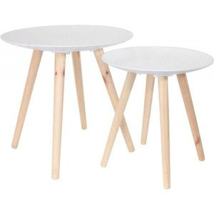 TABLE BASSE Tables gigognes rondes blanches déco (Lot de 2) -