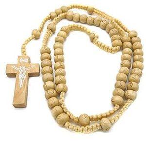 CHAPELET ot de 5 Chapelet Collier Sautoir Bois beige Crucif