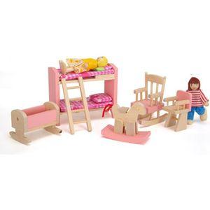 MAISON POUPÉE Ensemble de Mobiliers de Chambre des Enfants Minia
