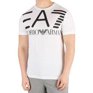 T-SHIRT EA7 Homme T-shirt graphique, Blanc taille Large 31