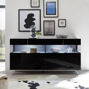 BUFFET - BAHUT  Buffet 4 portes Laqué Noir à LEDs - TARENTE n°2 -