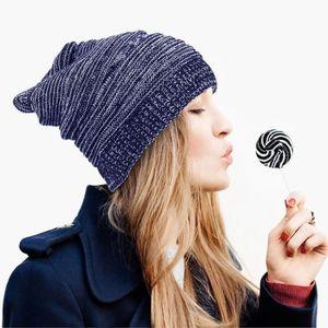 BONNET - CAGOULE Zodaca® Bonnet bouffant Tricoté Bleu Pour Femme Mo