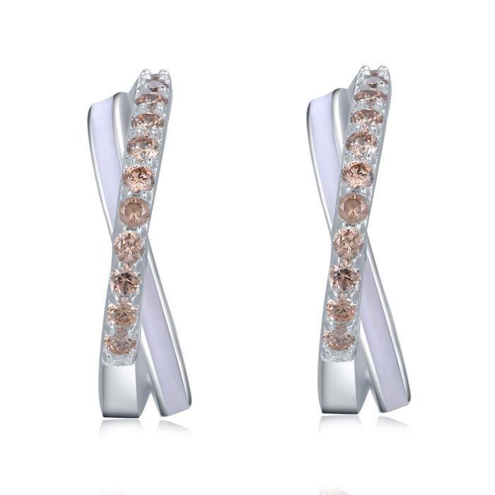 MBLife J-Hoop Croix Boucles doreilles Clous Femme Argent Sterling 925 Champagne CZ Bijoux Cadeau