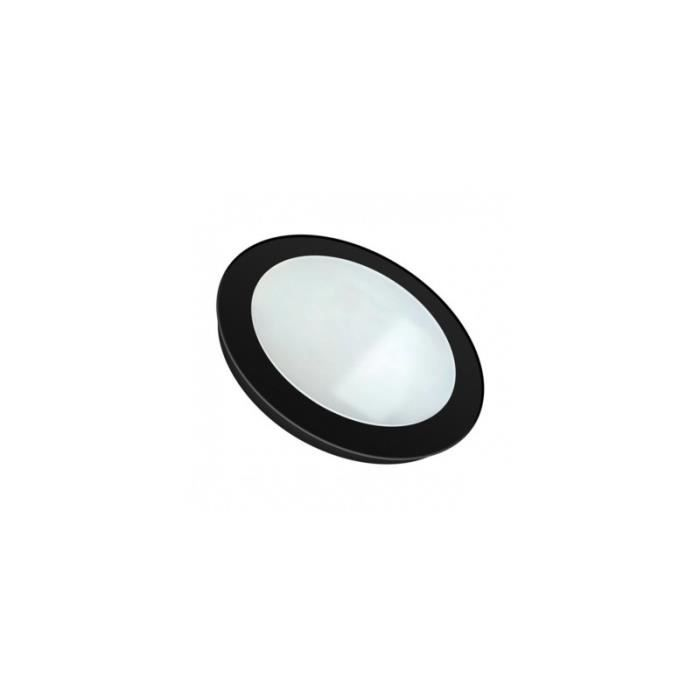 Dalle Led Ronde Extra Plate Encastrable 12w Cadre Noir Blanc Pur