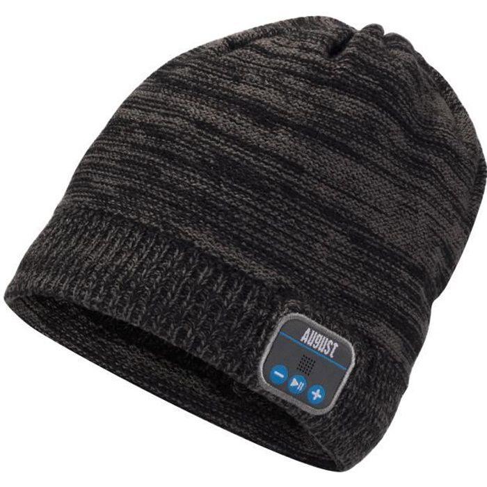 Bonnet Bluetooth Avec Casque Stéréo Intégré - Kit Main Libre, Batterie Rechargeable, Compatible Smartphones – August Epa20 Anthracit