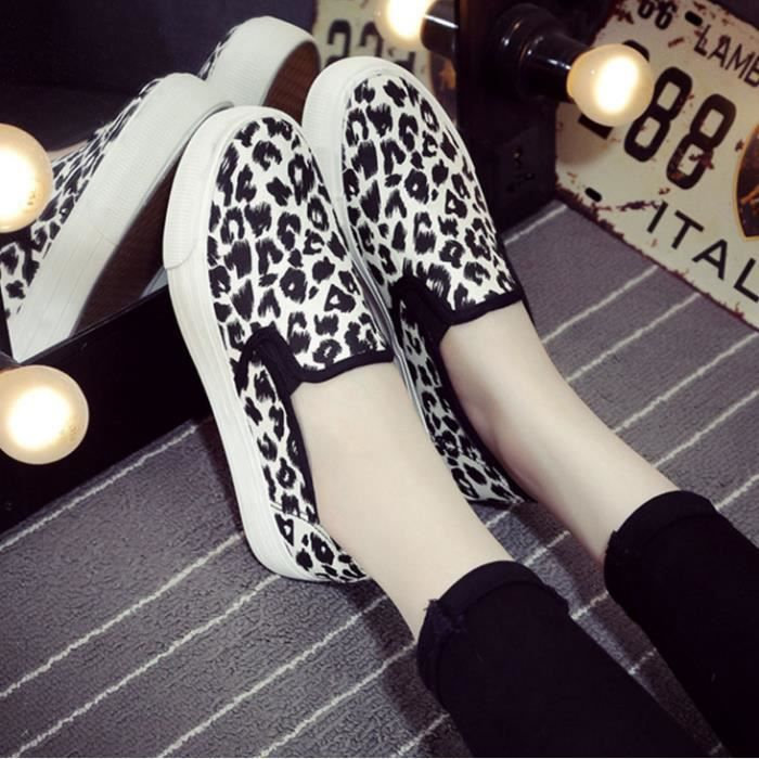 Printemps faible épaisseur chaussures en toile à semelle de chaussures de léopard occasionnels