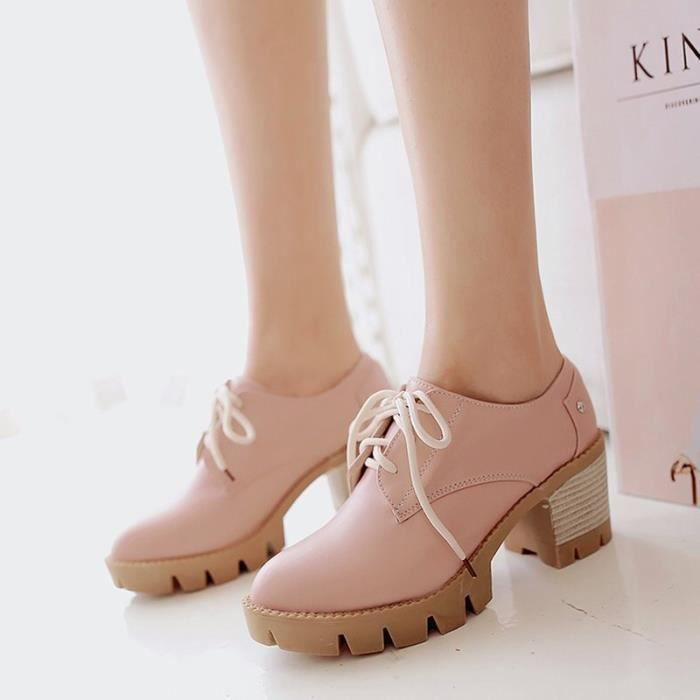 Chaussures Femme Sexy Couleur Pure Tourisme En PU Cuir Un peu Impression Lacets élégante Confortable