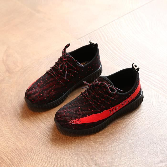 Basketenfants Chaussures de sport décontractée pour enfants garçons et filles chaussures de course--Noir