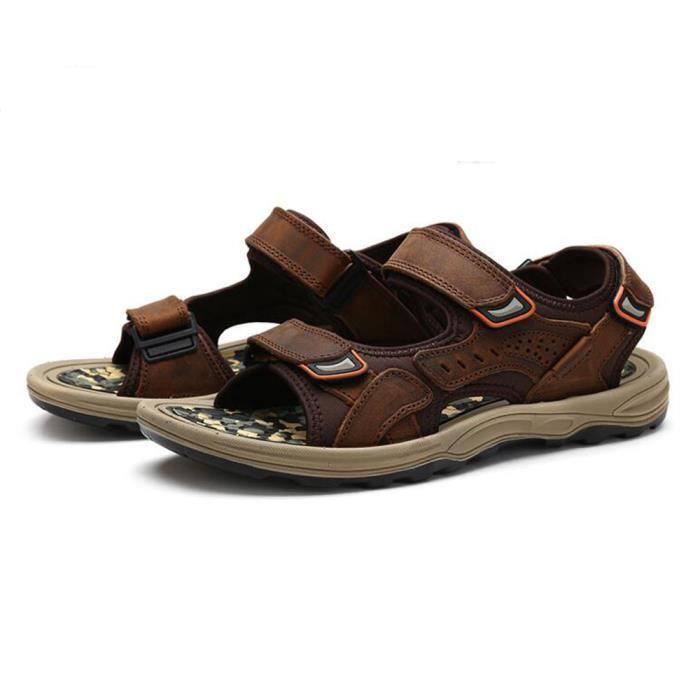 Ouvert Sandales Homme Cuir Biencome® Bout en Kaki Biencome® Sandales Sandales 1w8RqP7R