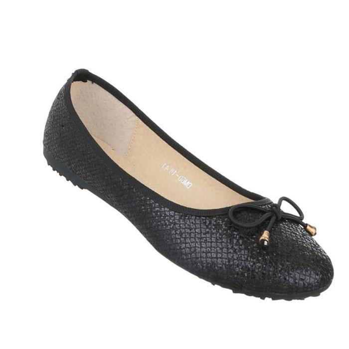 Femme ballerine chaussures Lofers Espadrilles escarpin noir 44