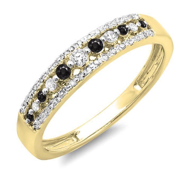 Bague Femme Diamants 0.25 ct14 ct 585-1000 Or Jaune Rond Noir Diamants 1-4 ct