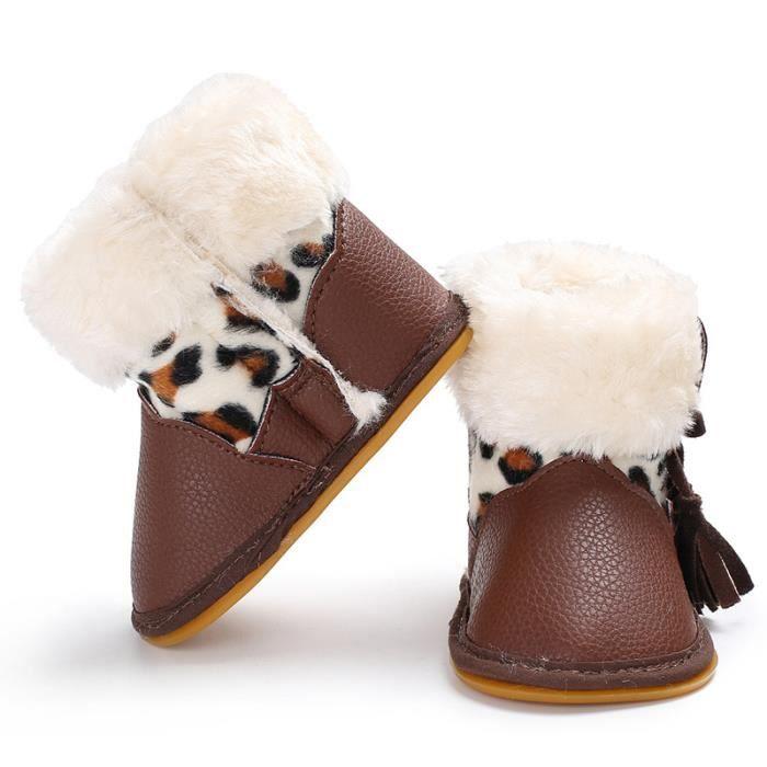 Blanc-Bébé Nouveau Hiver PU Garde au chaud Bottes de neige 0-1 chaussures de bébé h0iLP