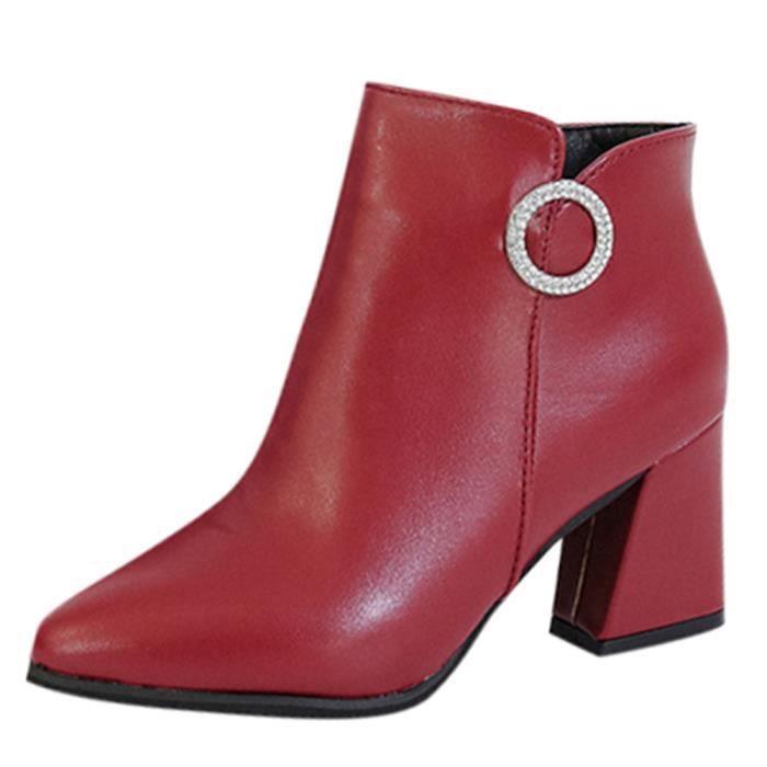 Latérale En Haut Glissière Casual Carré Rouge Chaussures Cuir Bottines À Femmes Talon YR0wFWfq