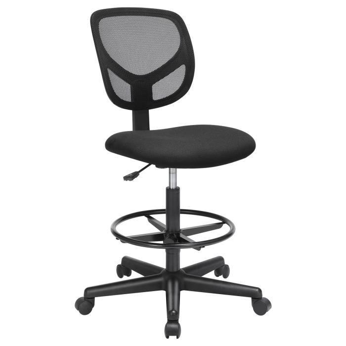 Royaume-Uni disponibilité 54a89 774ca SONGMICS® Chaise de bureau sans accoudoir avec Repose-Pieds Circulaire  Fauteuil Siège Ergonomique en maille Noir réglable OBN15BK