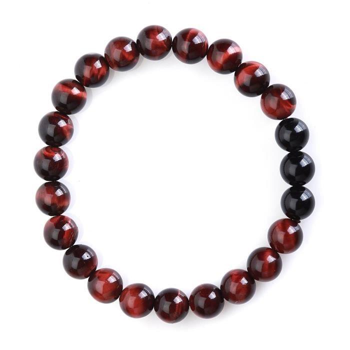 Womens Feleicis Jewelry 8mm Red Tiger Eye Gemstones And Black Onyx Beads Stretch Bracelet, 7 XQ9OF