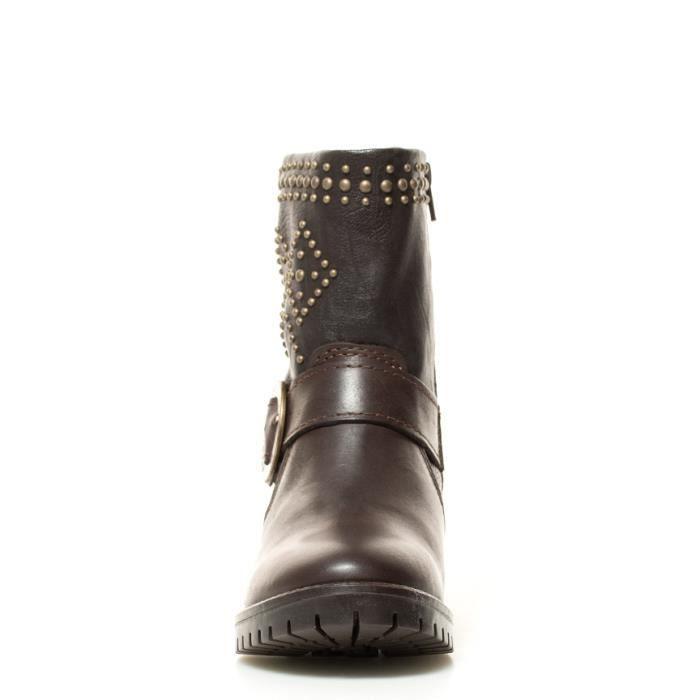 Desigual - Bottes en cuir Briseur Goujons Brown talon -Hauteur: 5cm