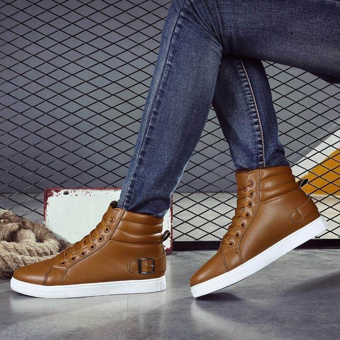 Chaud Hiver Martin Bottes Hommes Chaussures Fourrure pansy Bottines Automne Doublée marron tXFqnwPCq