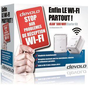 DEVOLO Kit 2 CPL Wi-Fi 500 Mbit/s, 2 ports Fast Ethernet, Kit de démarrage (x2) Mod?le 9084 dLAN 500 WiFi,