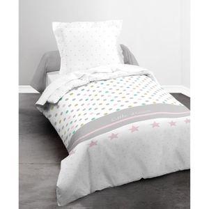 TODAY Parure de couette Happy Little Dream 100% Coton - 1 housse de couette 140x200 cm + 1 taie 63x63 cm gris, blanc, rose et bleu