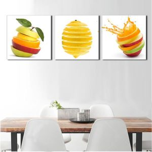 TABLEAU - TOILE (sans cadre)3 pièces cuisine mur photos fruits pei