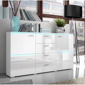 f20c747e30f1f7 Buffet bahut blanc laqué design DOLORES Avec LED - Achat   Vente ...