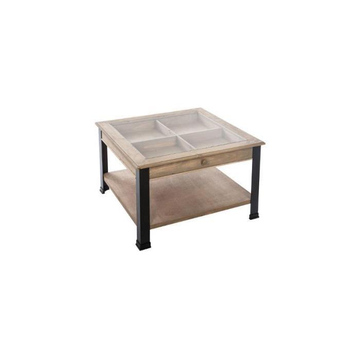 Table basse - Plateau en verre - L 71 x l 71 x H 46,5 cm
