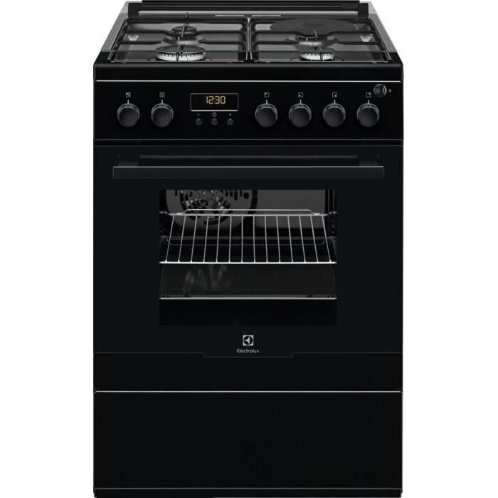 ELECTROLUX EKM66700OK Cuisinière mixte - 3 foyers gaz et 1 électrique - 54 L - A - L 60 cm - Noir