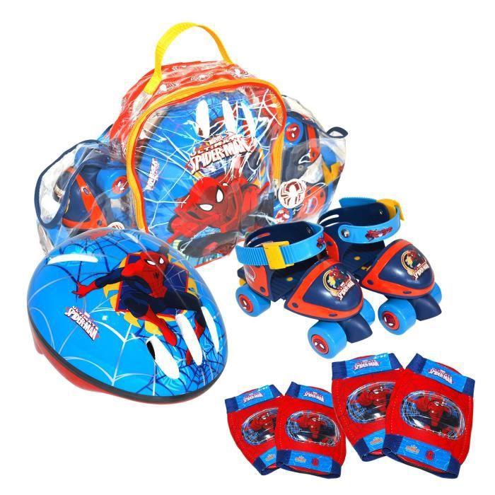 SPIDERMAN Pack comprenant : rollers + set de protections et casquePATIN A ROULETTE - PATIN QUAD