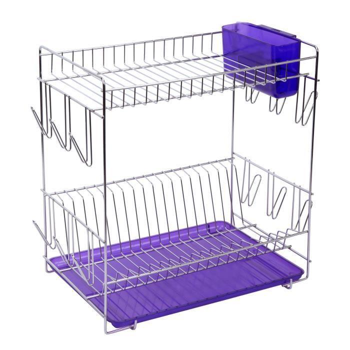 SAUVIC Égouttoir à vaisselle inoxydable avec plateau - Grand modèle - Lilas