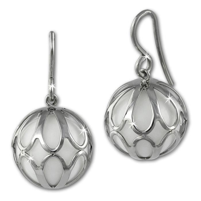 Amello boucles doreilles pendentif boule avec agate blanc - boucles doreilles en acier inoxydable pour femmes