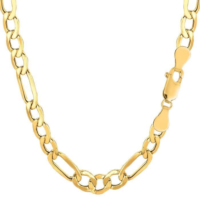 Collier- 10 k jaune or creux Figaro, 6,5 mm, 20