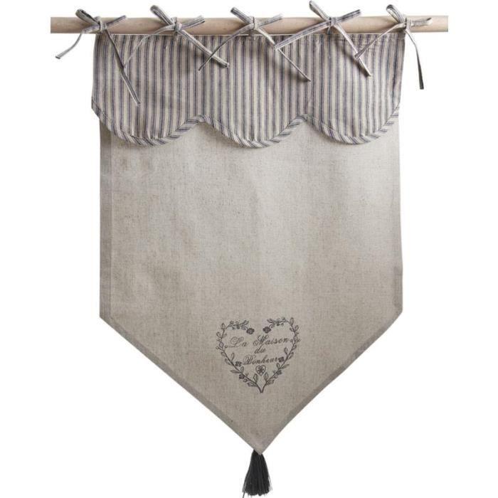 Rideau en coton et lin motif coeur gris la maison du bonheur achat vente rideau soldes - La maison du rideau maubeuge ...