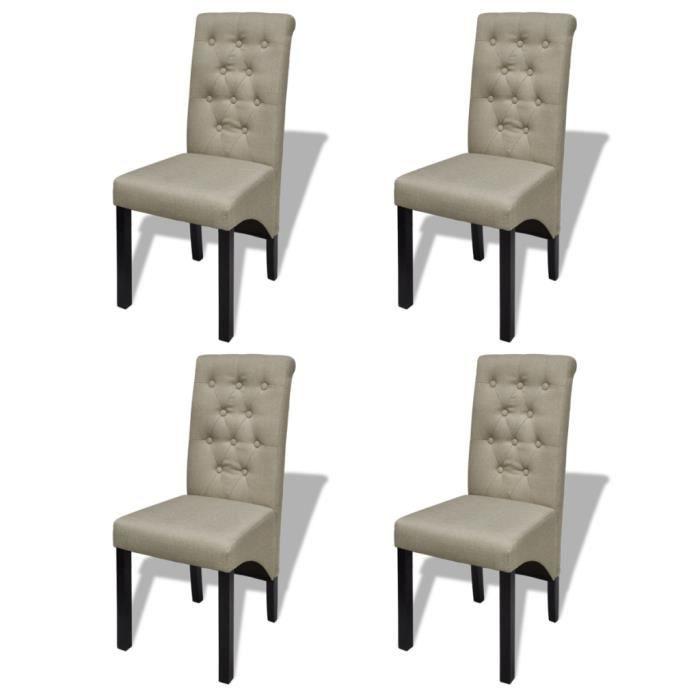 Lot de 4 chaises pour salle à manger Smith beige - - Achat / Vente ...