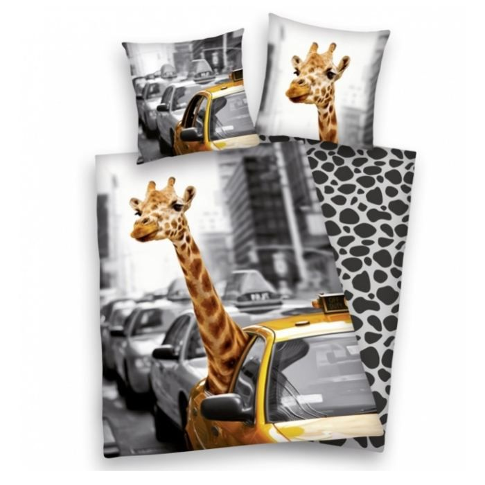 New york parure housse de couette taie girafe achat vente parure de c - Housse de couette girafe ...