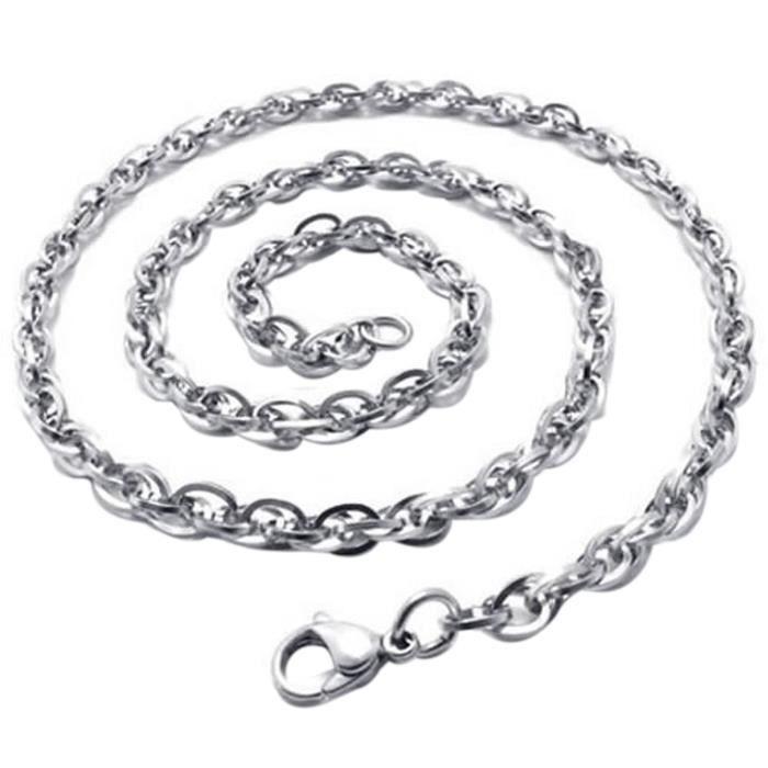 grand choix de 0c89a 8cf0d Bijoux a chaine Collier de gourmette en acier inoxydable pour homme et  femme - Argent (largeur 3 mm Argent 50cm-7501