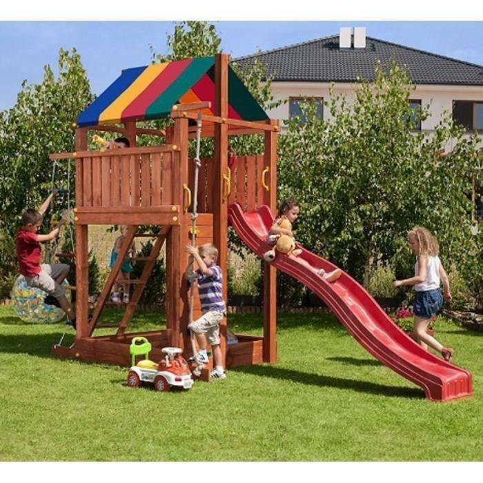 aire de jeux en bois com te pour enfants toboggan cabane achat vente station de jeux. Black Bedroom Furniture Sets. Home Design Ideas