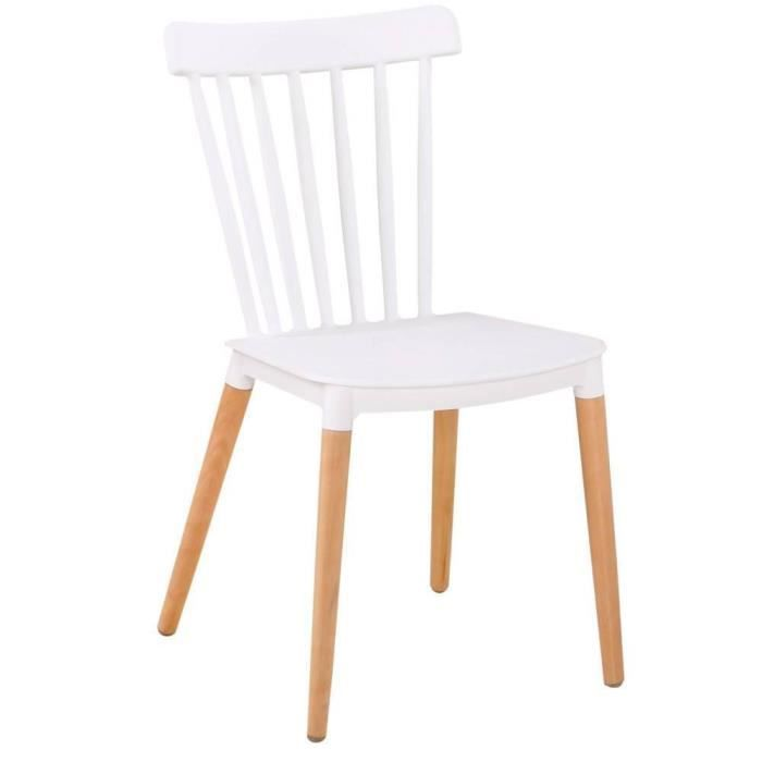 CHAISE Chaise Barreaux Design Scandinave ICONIC Blanche