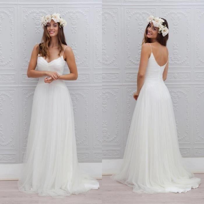 Robe de mariage mari e plage longue blanche bretelles for Robes de mariage pour la plage