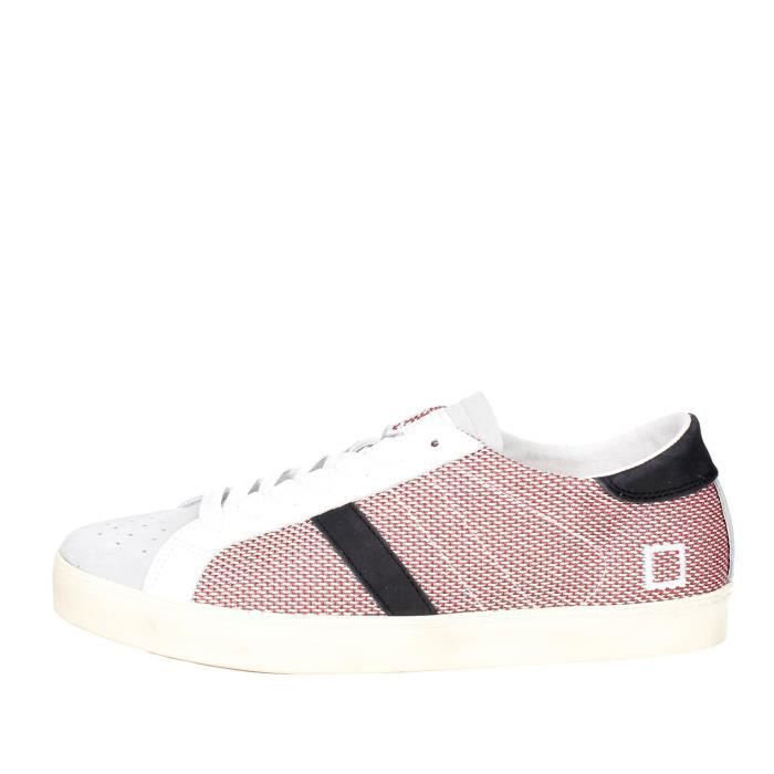 D.a.t.e. Sneakers Homme Blanc/Rouge, 44