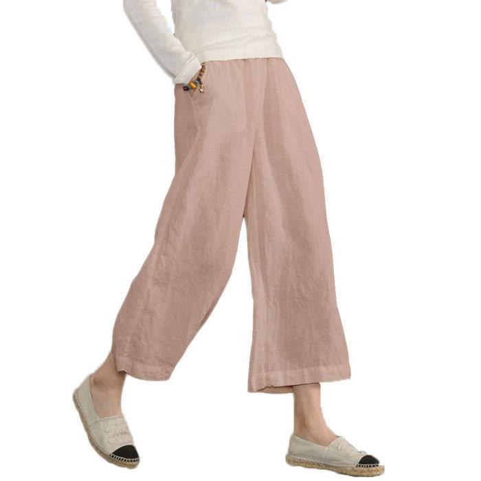 Minetom Pantalon Large à jambes et Fluides pour Femmes Confortable  Elastiqué Grande Taille 3-4 Longue Coton Lin 68d319841125