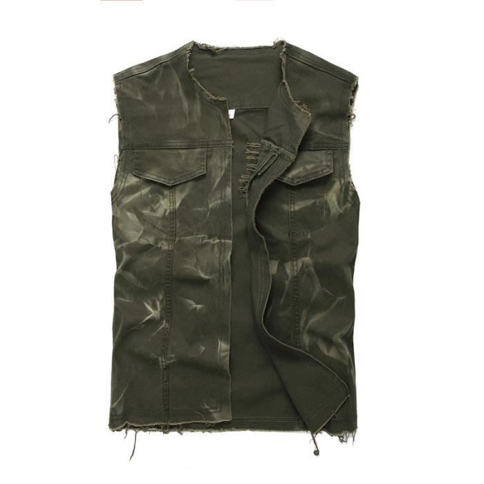 Manches Style Fashion Homme Sans Jeans En Gilet Veste Moto qf4SS8