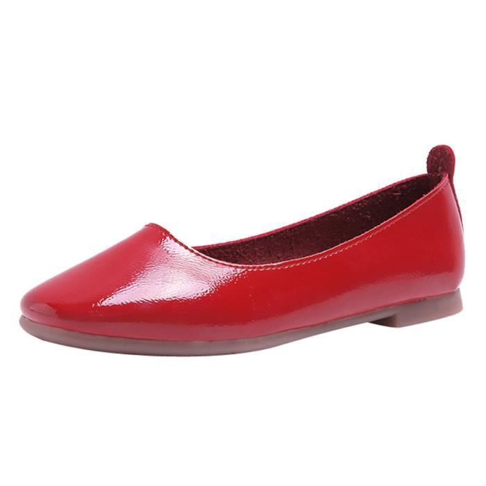 Shoes 578 On xz Square Rouge Low Femmes Flat Shallow Solid Slip Toe Single Heel Color 43R5LjA