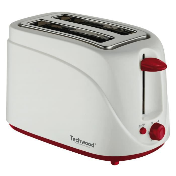 techwood tgp205 grille pain blanc et rouge achat vente grille pain toaster cdiscount. Black Bedroom Furniture Sets. Home Design Ideas