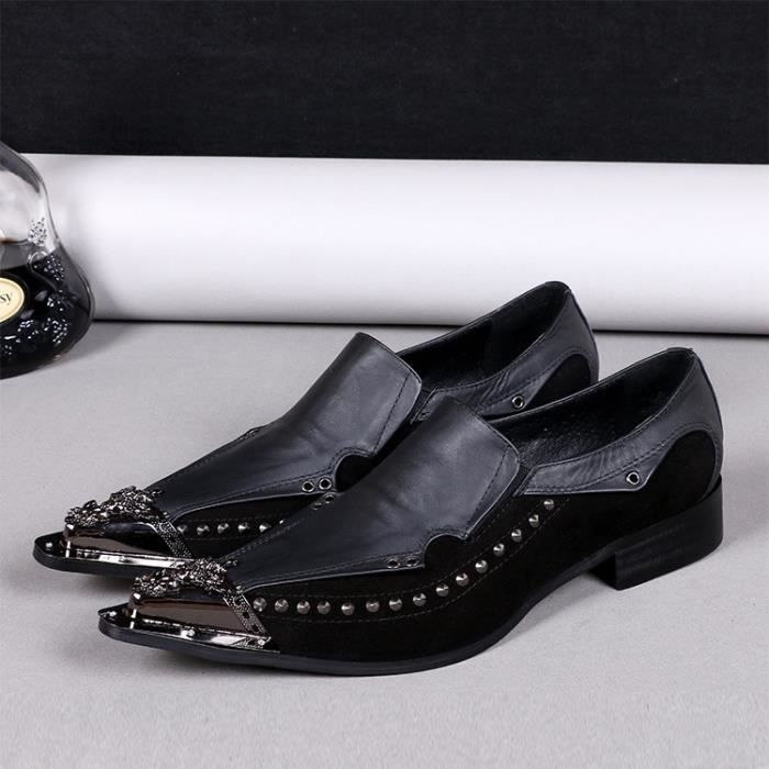 2016 Nouveau Hommes Oxfords Chaussures pour hommes Casual en cuir véritable mode Toe Rivet Punk Pointu Style Plus Size 38-46
