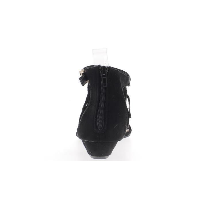 Sandales compensées femme noires aspect daim petit talon de 3cm avec frange et perles strass