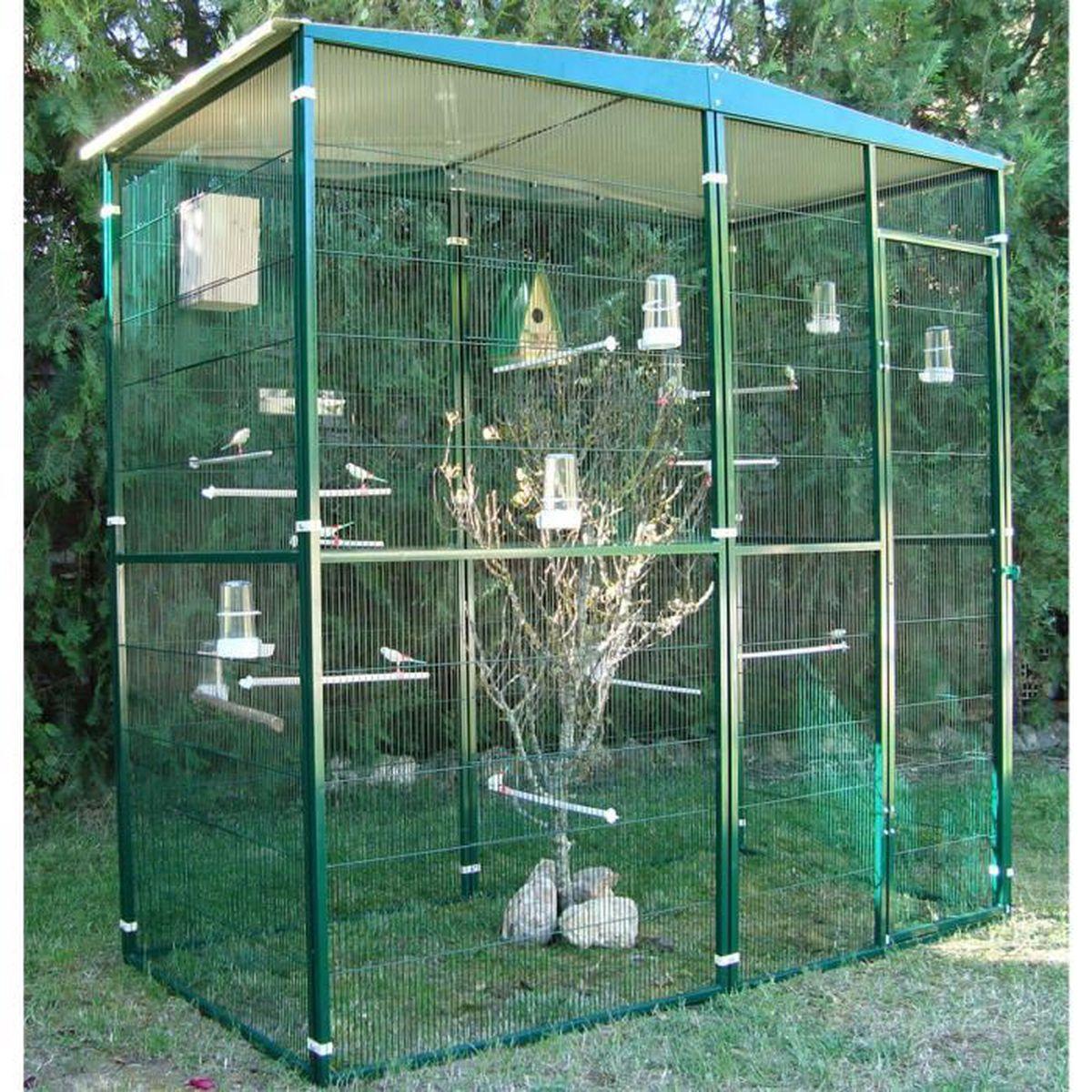 Volière de Jardin 2m² Toit 2 Pentes Vert - Achat   Vente volière ... 66f1d44fd935