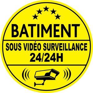 PANNEAU EXTÉRIEUR Adhésif Batiment Sous Vidéo Surveillance 24H/24 (1