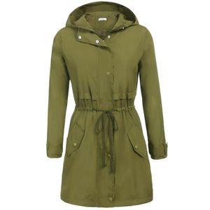 34f18f3c0449c Casual légère à manches longues Trench femmes Manteau Veste à capuche  imperméable vêtement 3IOZFN Taille-36