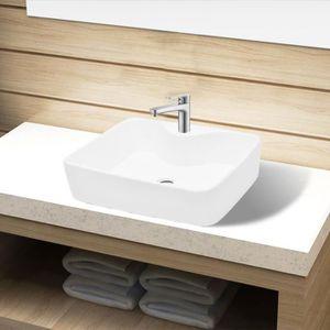 LAVABO - VASQUE Vasque carré à trou  480 x 370 x 135 mm (l x P x H